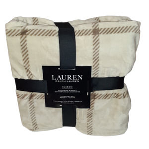 NEW Ralph Lauren Plaid Cream Tan Blanket Throw